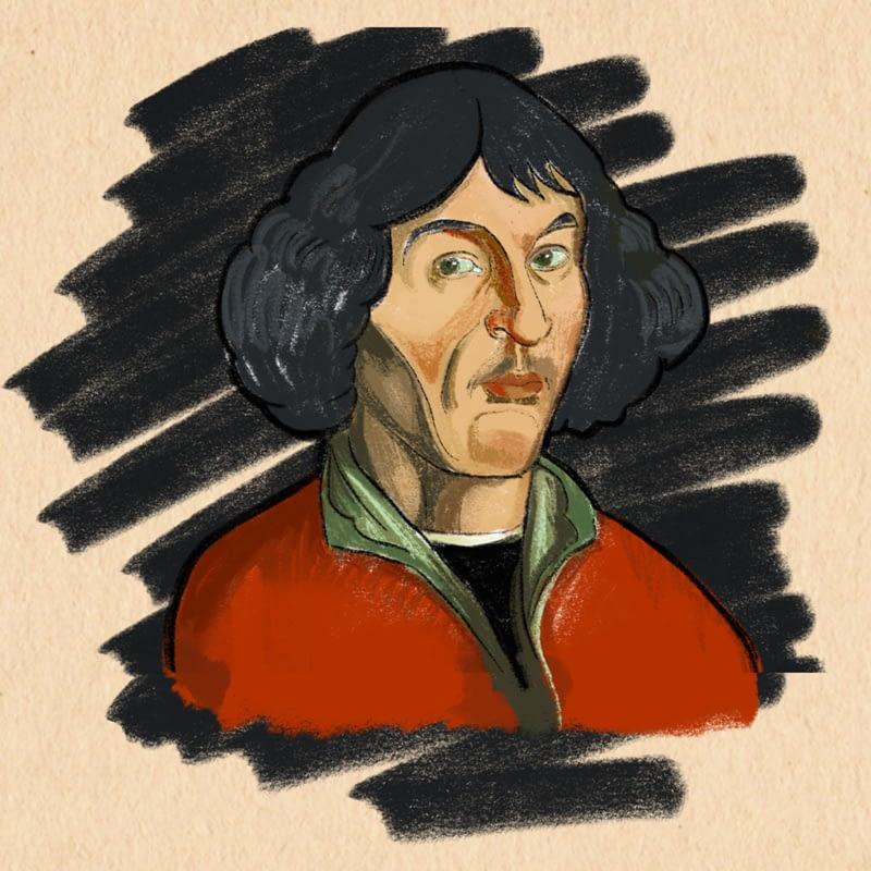 portrét Mikuláše Koperníka / detail ilustrace do časopisu Fokusoviny
