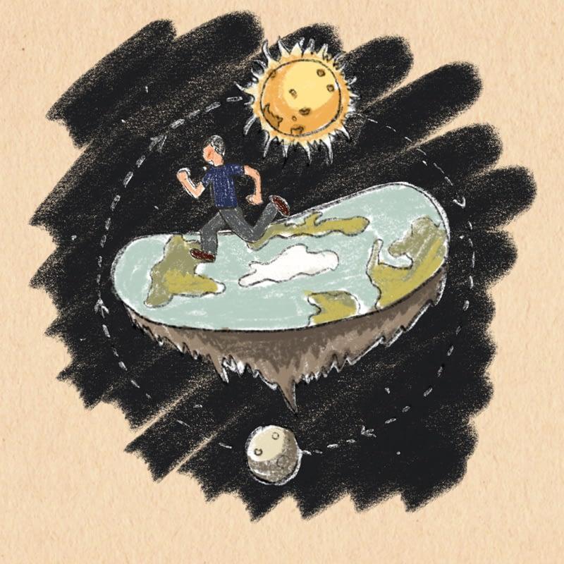 """""""run round the world"""" / detail ilustrace do časopisu Fokusoviny / zobrazení heliocentrické (sluncestředné) teorie přenesené jako přirovnání reformy psychiatrické péče"""